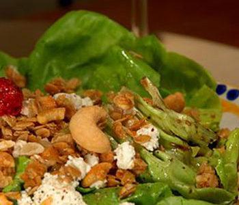 Sweet and savory salad with granola.