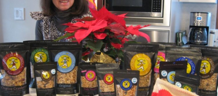 Deborah and Golden Girl Granola products in kitchen