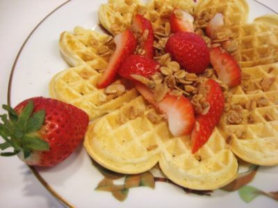 Waffles with strawberry topping