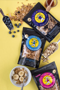 Golden Girl Granola ingredients and granola bags