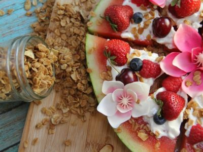 Watermelon granola pizza