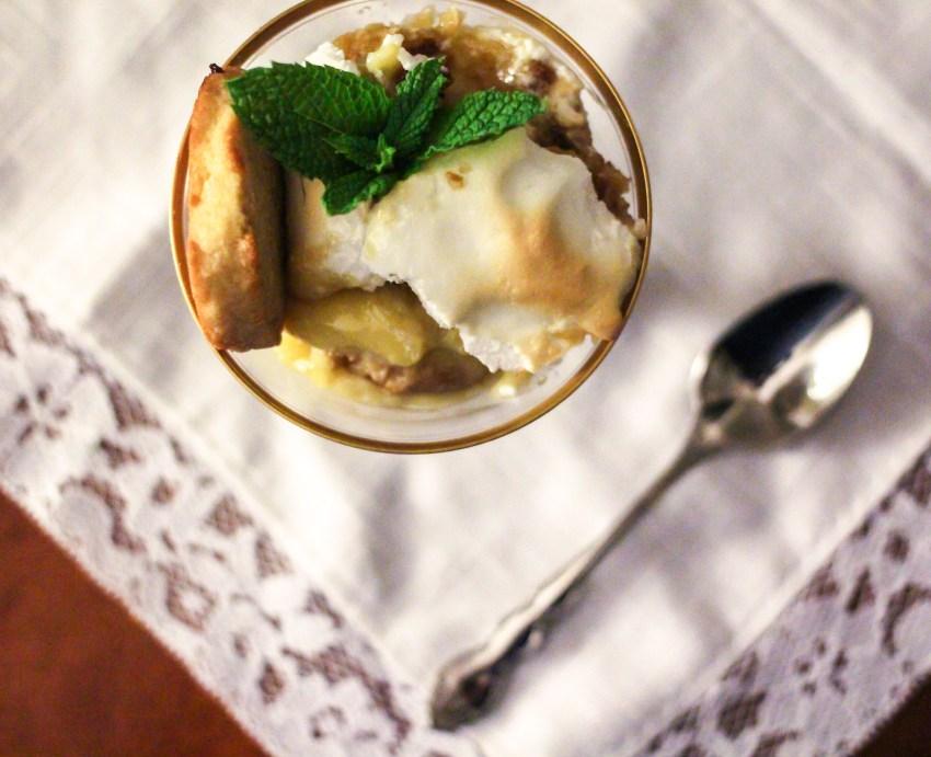 Maple granola shortbread and banana pudding