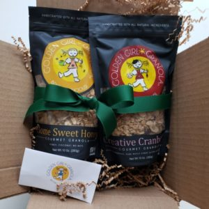 Gift ribbon and custom card with granola in a box