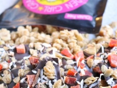 Truly Tropical granola bag with chocolate bark.