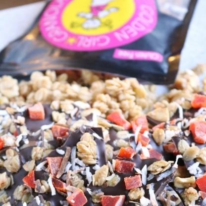 Truly Tropical granola bag with chocolate bark.
