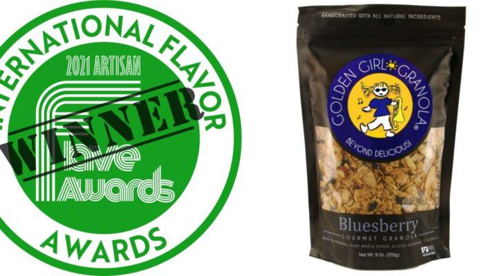 Artisan Flave Award logo and Bluesberry granola