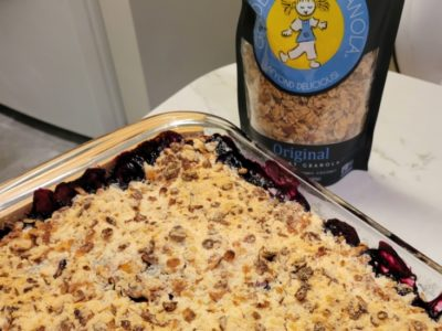Blueberry and peach granola crumble with Orignal granola