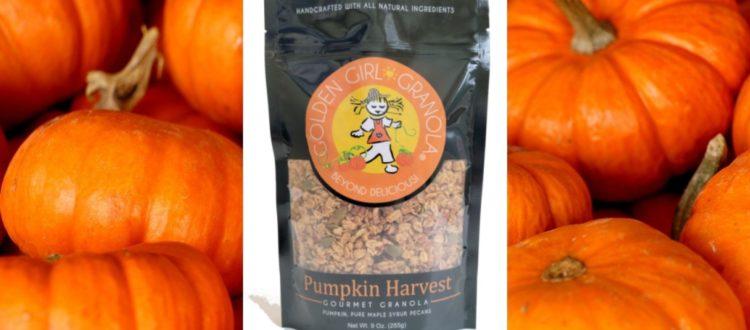 Pumpkin Harvest granola with pumpkins background